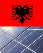Kosovo flag and solar panel