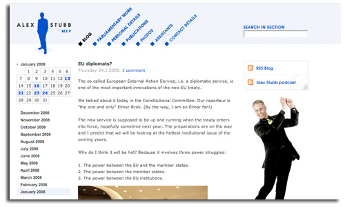 Alexander Stubb MEP Blog screenshot