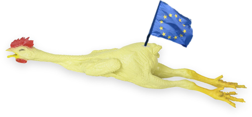 Rubber chicken with an EU flag in its rear