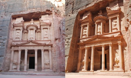 Petra Treasury - morning and evening