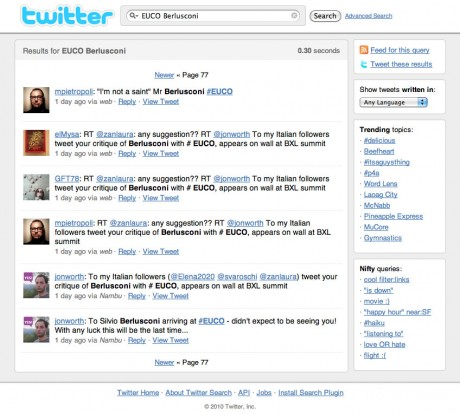 Twitter EUCO Berlusconi Search - click to view at full size
